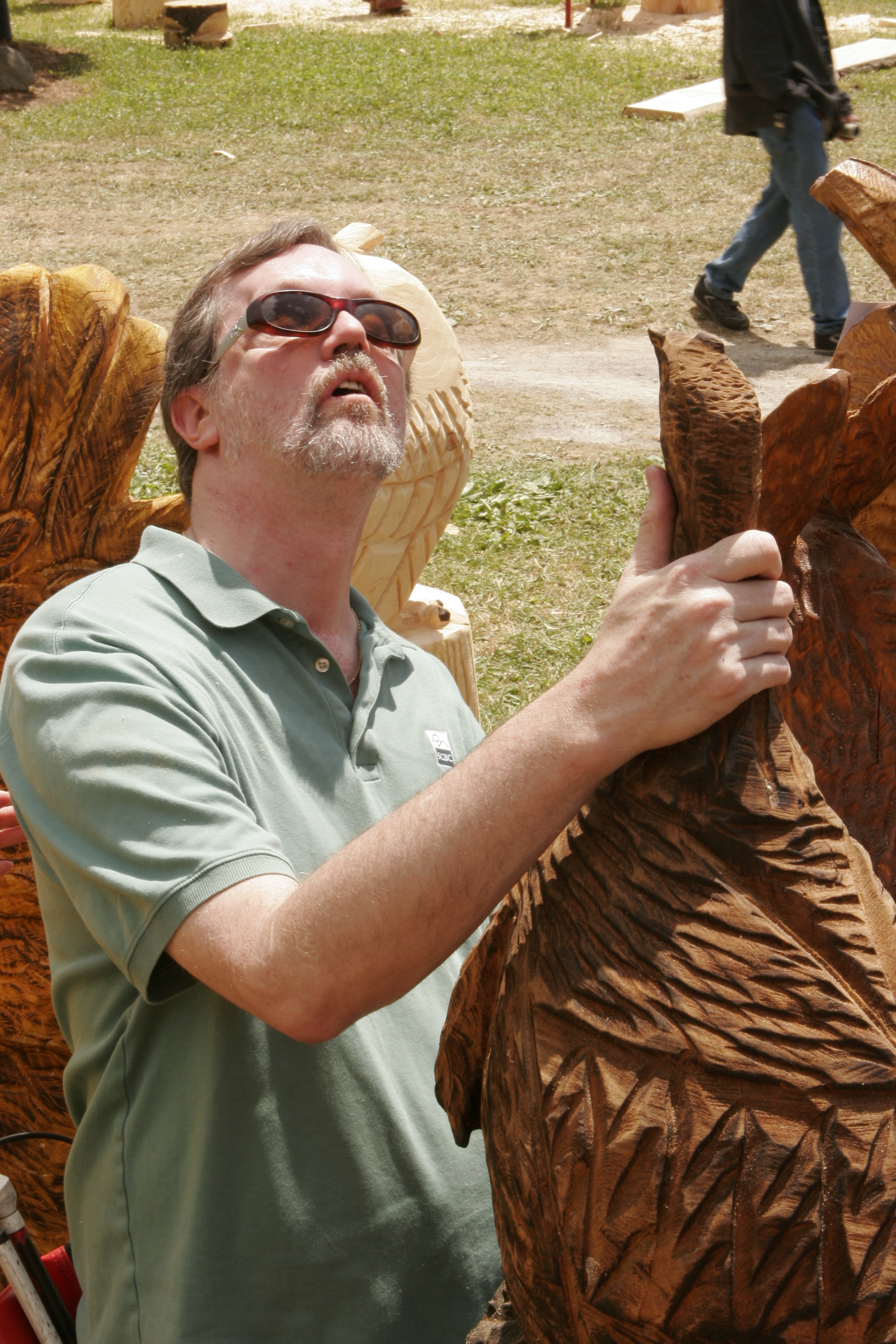A chainsaw carving festival to benefit the blind